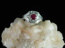 0.91 ct. Round Ruby Ring 1920's Style Sterling Silver