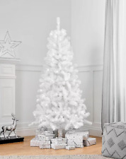 Magical Snowy White Christmas Tree Pre-Lit With Warm LED White Lights 6ft
