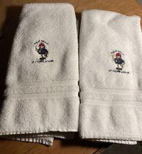 "(2) VINTAGE RALPH LAUREN Polo Bear HAND TOWEL LOT of 20"" X 32"" 100% Cotton"