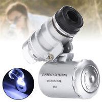 LOUPE X 60 portable Mini bijoutier horloger éclairé LED+UV Grossissement  FR