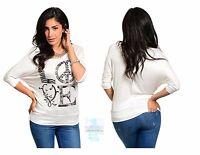 Women Knit Dolman Top Blouse Shirt 3/4 Sleeve Ivory Casual Yoga Fashion Cute