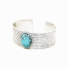 Lucky Brand Antiqued Silver Tone Turquoise Set Stone Cuff Bracelet