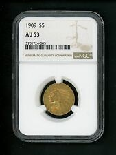 1909 US $5.00 Gold Indian $5 Half Eagle NGC AU53 Circulated Nice Definition