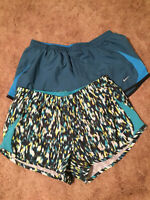 "NIKE DRI-FIT Women's Size L Athletic Running Shorts Lot of 2 3"" Inseam"