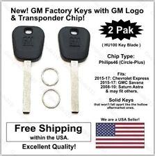 2 Pak: GM Uncut Key w/GM Logo & Chip (46 / Circle +) Fits: Chevrolet & GMC Vans