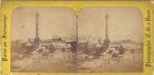 Paris Bastille Stéréo Albumine Vintage ca 1865