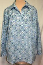 Talbots 97% Cotton Wrinkle Resist Geo Paisley 1/2 Button Down Shirt/Tunic Top-3X