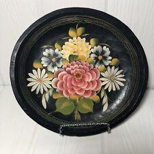 "Vintage Hand Painted Toleware Bowl Flowers 10"""