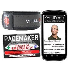 Pacemaker Alert Bracelet & Medical ID Card Option Emergency Identity Pace Maker