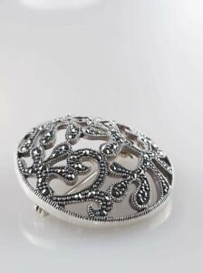 SOLID 925 Sterling SILVER genuine Maracasite Round Brooche / Hat / Bag Pin