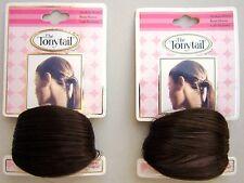 2 New Medium Brown Straight Hair Ponytail Wrap Holder Set