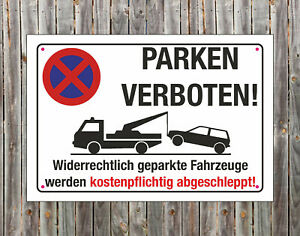 PARKEN VERBOTEN Halteverbot Parkplatz Hinweisschild Parkverbotsschild 3mm PVC