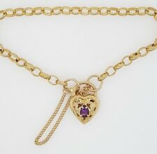Preloved 9ct Yellow Gold belcher link bracelet with Amethyst heart safety 5.42g