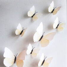 12pcs DIY 3D WHITE Butterfly Wall Sticker Decal Home Decor Room Decoration