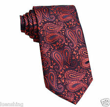New Men's Polyester Woven Neck Tie Navy Blue Red Paisley Prom Wedding formal