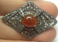 BEAUTIFUL VINTAGE STERLING SILVER AMBER & MARCASITE PIN BROOCH TRIANGLE STYLE