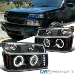 For 04-12 Colorado Canyon LED Halo Projector Headlights+ Black Corner Signal