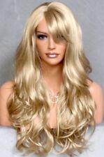 Long Wavy Full Wig Layered w Bangs Off center Skin Golden Blonde HSJO 24 NWT