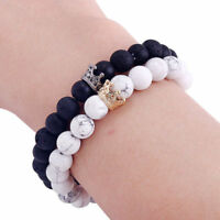 2PCS/Set Natural Stone Beads Bracelet Charm Crown Couple Bracelet Bangle Jewelry