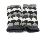 ** Fair Trade ** Handmade Nepalese Wool Fleece Lined Wrist Warmers Grey (WW27)