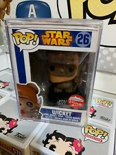 Funko Pop! Star Wars Flocked Wicket #26 Fugitive Toys Exclusive W/ Hard Stack