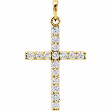 Cruz Diamante 45.7cm Collar en 14k ORO AMARILLO ( 1.00ct. TW