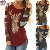 Womens Christmas Tops Stripe Sequin Reindeer Long Sleeve Cute T-Shirt Blouse