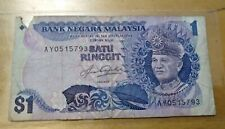 AY 0515793 Aziz Taha middle signature sign Rm1 banknote VG tear hole