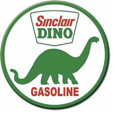 Sinclair Dino Gasoline Round Vintage Retro Metal Tin Sign Garage Wall Decor