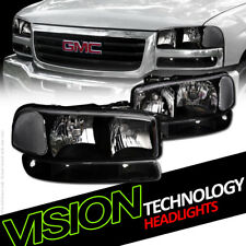 Black Headlights W/Parking Bumper Lamps Nb For 99-06 07 Gmc Sierra/00+ Yukon Xl (Fits: Gmc)