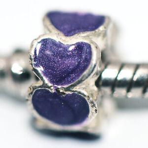 1x Purple Heart Bead Charms Spacer Fit Eupropean Chain Bracelet Making Jewelry