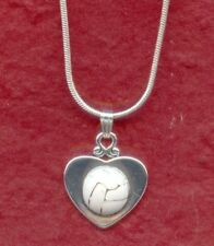 Netball Necklace Heart enameled ball Show u love the game 18 inch chain jewelry