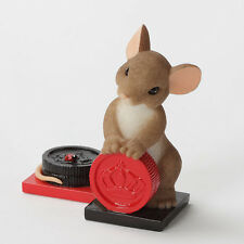 Charming Tails Nice Move Mouse with Checkers figure 4033011 New Enesco Nib