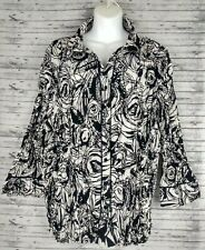 Scott Taylor Women's Button up Blouse Sz 3X Collared Long Sleeve black/white