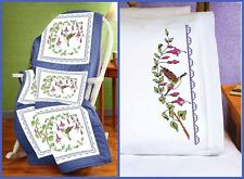 Janlynn Stamped Cross Stitch Set HUMMINGBIRD Quilt Blocks and Pillowcases #02117