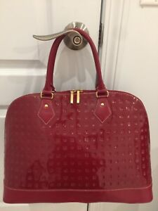 ARCADIA XL LARGE RED Patent Leather Satchel Travel weekender made italy