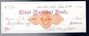 REVENUE STAMPED PAPER - RN-D1 ON A BANK CHECK  - 1875 - 4