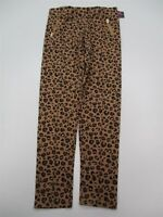 new CHEROKEE #M127 Girls Size XL 14/16 Leopard Print Zipper Brown Leggings Pants