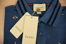 GUCCI T Shirt Polo New Mens Size L Large Blue Embroideries Short Sleeves GENUINE