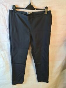 Laura Ashley Black Cotton Blend Cigarette Tailored Workwear Trousers Size 14