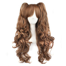 70cm Long Coffee/Rice White Curly Clip-In Ponytails Lolita Style Cosplay Wigs