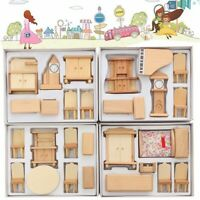 29Pcs 1:24 Scale Dollhouse Miniature Wooden Furniture Suite Accessories DIY  ∑