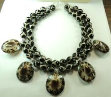 Statement 2 Strand  Faceted Giraffe Agate Necklace with Opihi Shells