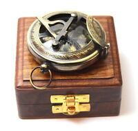 Brass Sundial Compass – Antique Push Button Sundial Compass with Box