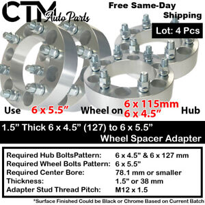 """4PC 1.5"""" THICK 6x4.5"""" to 6x5.5"""" 71.5MM C.B. WHEEL ADAPTER SPACER FIT NISSA&MORE"""