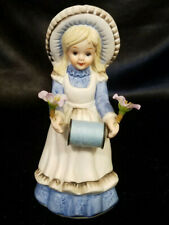VINTAGE BISQUE PORCELAIN COUNTRY GIRL FIGURINE SCISSOR HOLDER / PIN CUSHION