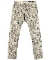 Miss Me Womens Tan Floral Wash Mid Rise Skinny Ankle Cut Jeans Size 27
