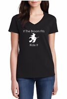 Ladies V-neck If The Broom Fits Ride It Shirt Halloween Costume Funny Cute Tee