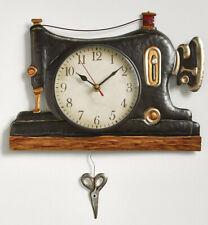 Retro Sewing Machine Pendulum Wall Clock Room Decor Vintage-Style