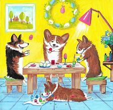 4X4 Print Easter Painting Ryta Pembroke Welsh Corgi Eggs Whimsical Folk Art Dogs